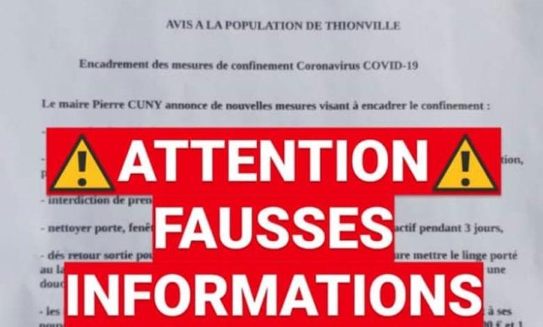 Photo de Coronavirus : Une fausse circulaire à Thionville